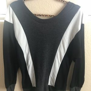 Black White Gray Long Sleeve Sweater with V cut